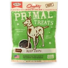 Primal Jerky Beef Chips Dog Treats, 3-oz. bag.