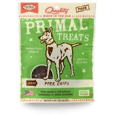 Primal Jerky Pork Chips Dog Treats, 3-oz. bag.