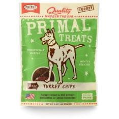 Primal Jerky Turkey Chips Dog Treats, 3-oz. bag.