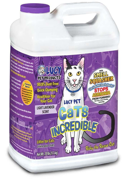Cats Incredible Clumping Litter Light Lavender Scent 20lb Jug.