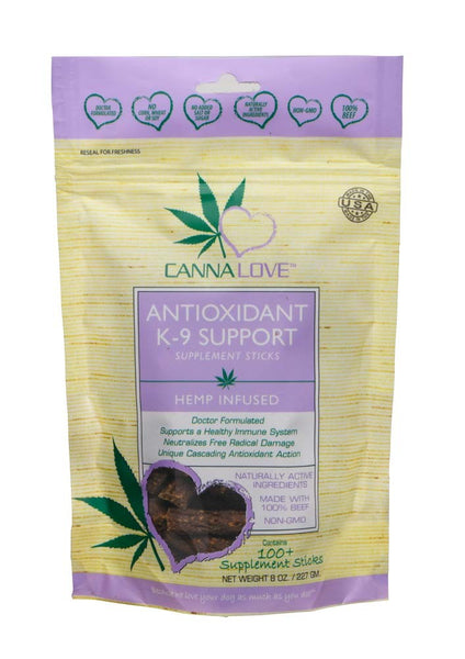 CannaLove Antioxidant K-9 Supplement Sticks Hemp Infused Dog Treat 8oz.