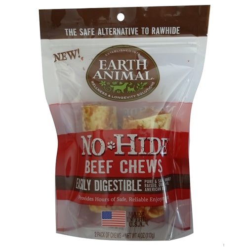 "Earth Animal No Hide Beef Chews Dog Treats, 4"", 2 Pack."