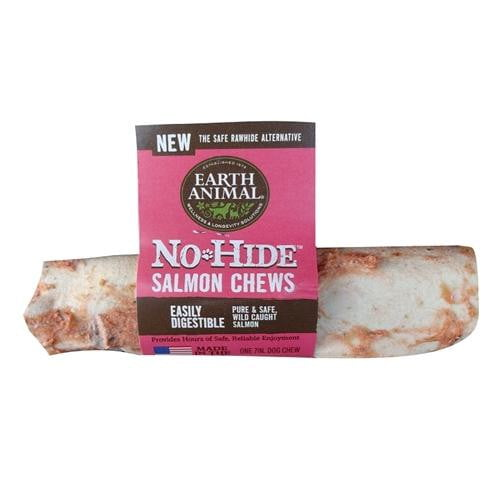 "Earth Animal No Hide Salmon Chews Dog Treats, 7"" (24 counter box)."
