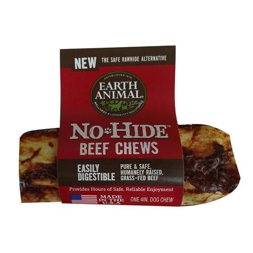 "Earth Animal No Hide Beef Chews Dog Treats, 4"" 24 Counter refill box."
