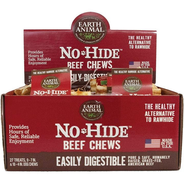 EARTH ANIMAL DOG NO-HIDE BEEF 27 PIECES DISPLAY - Leaderpetsupply.com