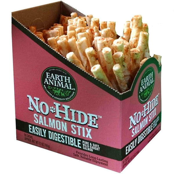 Earth Animal No Hide Salmon Chews Dog Treats, 90 count Box.