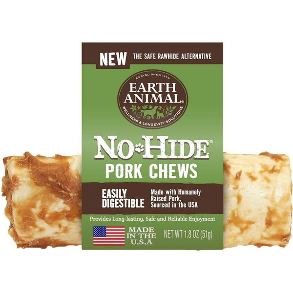 Earth Animal No Hide Pork Chews Dog Treats 4 inch Counter Refill 24 Count.