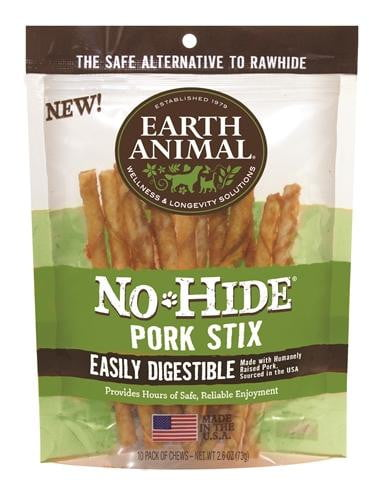 Earth Animal No Hide Pork Chews Dog Treats, 10 Pack.