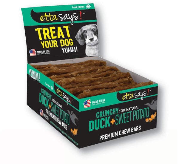 Etta Says! Dog Crunch Chew BARS Duck (12 Count).