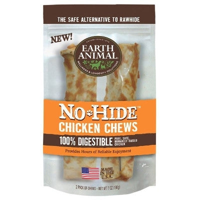 "Earth Animal No Hide Chicken Chews Dog Treats, 7"", 2 Pack."