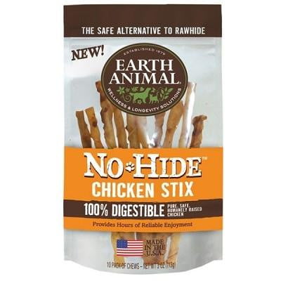 Earth Animal No Hide Chicken Stix Dog Treats, 10 Pack.