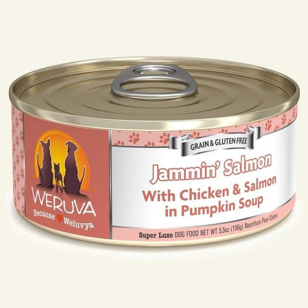 Weruva Dog Jammin' Salmon 5.5 Oz.  Case of 24.