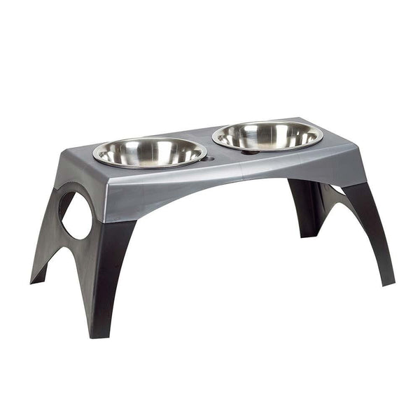 Bergan Pet Products Stormcloud Elevated Feeder 2 Bowl Black and Grey Medium.
