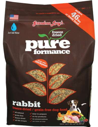 Grandma Lucys Dog  Pure Grain Free Rabbit Chickpea  10 Lbs..