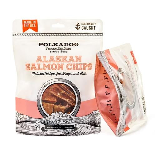 Polka Dog Salmon Chips Pouch 4oz..