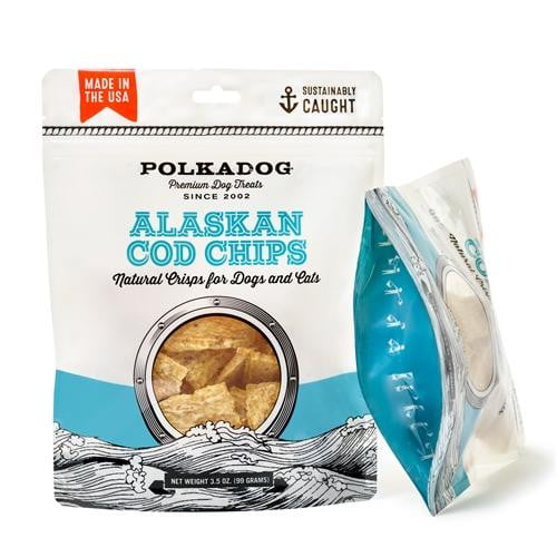 Polka Dog Cod Chips Pouch 4oz..