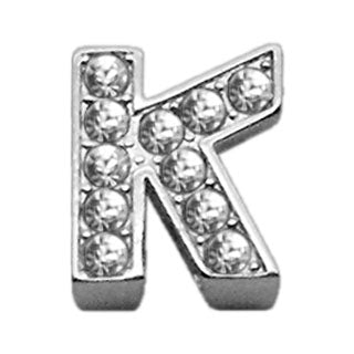 "3-8"" Clear Bling Letter Sliding Charms K."