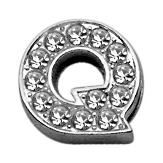 "3-8"" Clear Bling Letter Sliding Charms Q."