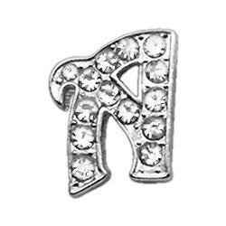 "3-8"" Clear Script Letter Sliding Charms A."