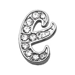 "3-8"" Clear Script Letter Sliding Charms E."