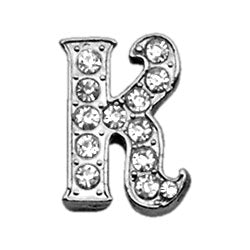 "3-8"" Clear Script Letter Sliding Charms K."