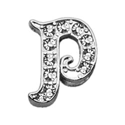 "3-8"" Clear Script Letter Sliding Charms P."