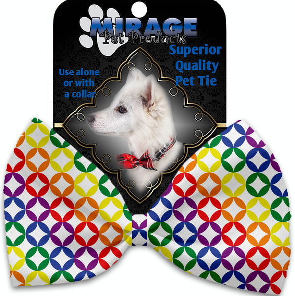 Rainbow Bright Diamonds Pet Bow Tie Collar Accessory With Velcro.