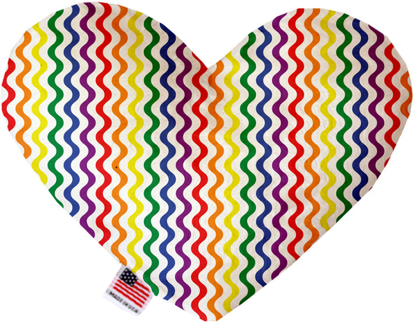 Rainbow Fun Stripes Inch Heart Dog Toy.