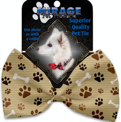 Mocha Paws And Bones Pet Bow Tie Collar Accessory With Velcro.