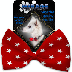 Red Stars Pet Bow Tie Collar Accessory With Velcro.
