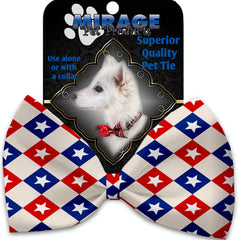 Patriotic Checkered Stars Pet Bow Tie Collar Accessory With Velcro.