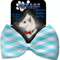 Baby Blue Plaid Pet Bow Tie Collar Accessory With Velcro.