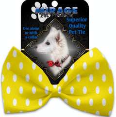 Yellow Polka Dots Pet Bow Tie Collar Accessory With Velcro.