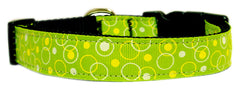 Retro Nylon Ribbon Collar Lime Green.