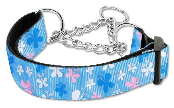 Butterfly Nylon Ribbon Collar Martingale Blue.