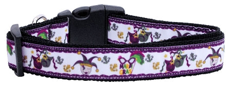 Mardi Gras Nylon Ribbon Dog Collars.