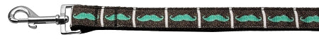 Aqua Moustaches Ribbon Dog Collars 1 Wide Leash.