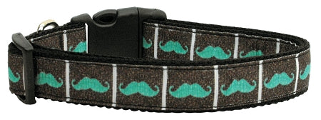 Aqua Moustaches Ribbon Dog Collars.