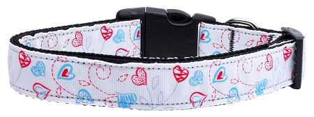 Patriotic Crazy Hearts Nylon Ribbon Dog Collars.