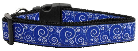 Blue And White Swirly Nylon Ribbon Dog Collars.