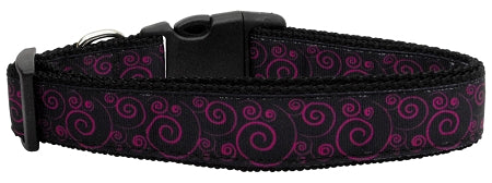Pink And Black Swirly Nylon Ribbon Dog Collars.