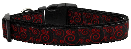 Red And Black Swirly Nylon Ribbon Dog Collars.