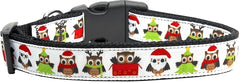 Santa Owls Nylon Dog Collar Medium Narrow.