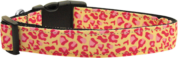 Tan And Pink Leopard Nylon Cat Collar.