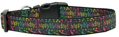 Happy Birthday Nylon Dog Collar Medium Narrow.
