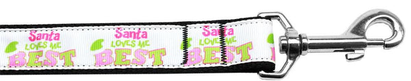 Santa Loves Me Best Nylon Dog Leash 3/8 Inch Wide Long