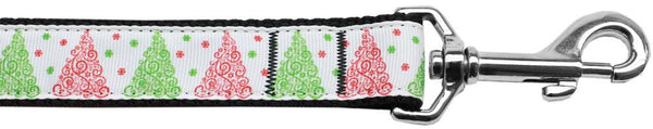 Fancy Schmancy Christmas Tree Nylon Dog Leash 3/8 Inch Wide Long