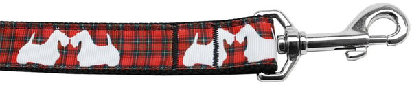 Red Plaid Scottie Pups Nylon Dog Leash 3/8 Inch Wide Long