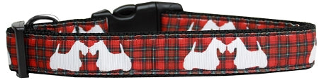 Red Plaid Scottie Pups Nylon Cat Collar.