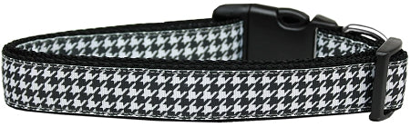 Black Houndstooth Nylon Dog Collar.